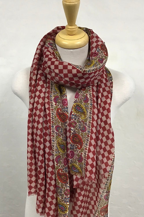 Kemi Red Square and Paisley Scarf