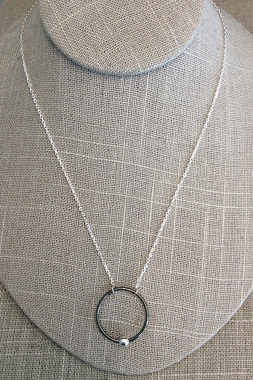 GAM Silver and Rhodium Circle Necklace 14