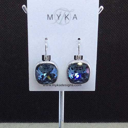 Myka Demin Blue Medium Cushion Earrings