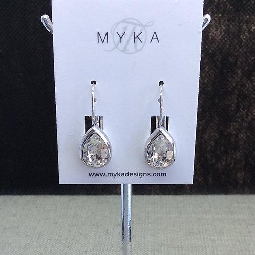 Myka Crystal Silver Shade Medium Teardrop Earrings