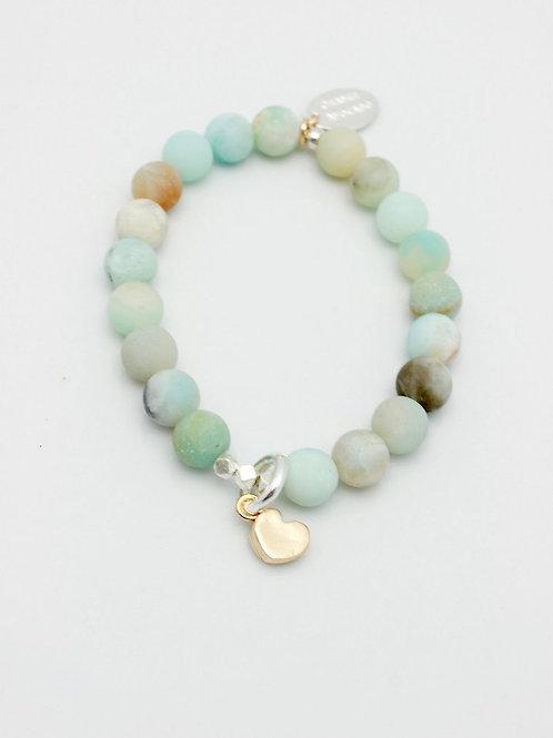 Matte Amazonite Stone Stretch Bracelet with Bronze Cutout Heart Pendant
