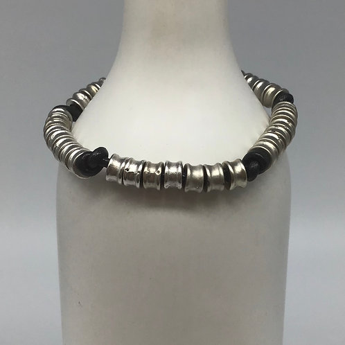 Black Leather Cord Bracelet (Woven with Beads of Pewter) #3