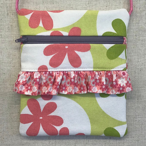 Children's Purse - Coral Flowers with Flower Ruffle
