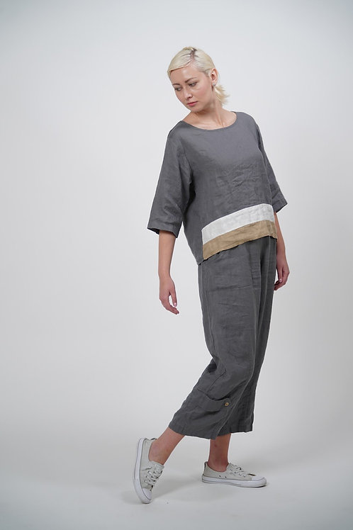 Linen Woven Top with Three-Quarter Sleeves