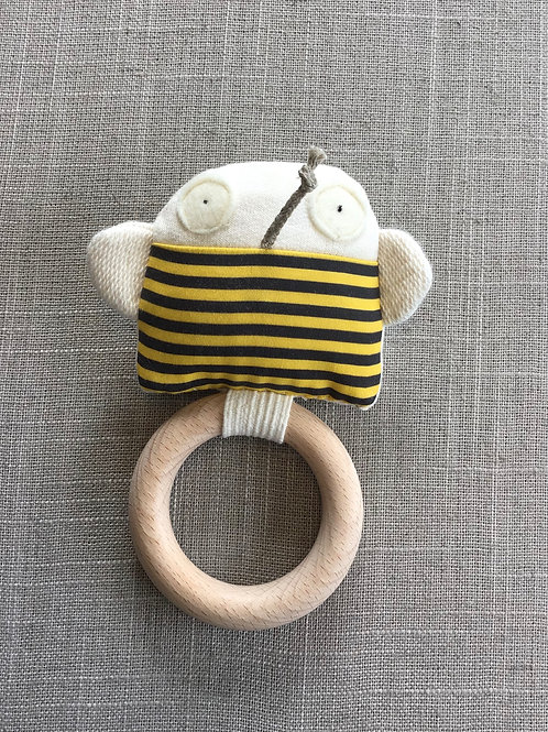 Bee Teething Ring + Rattle