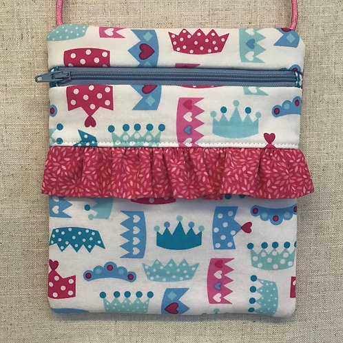 Children's Purse - Crowns on White with Pink Ruffle