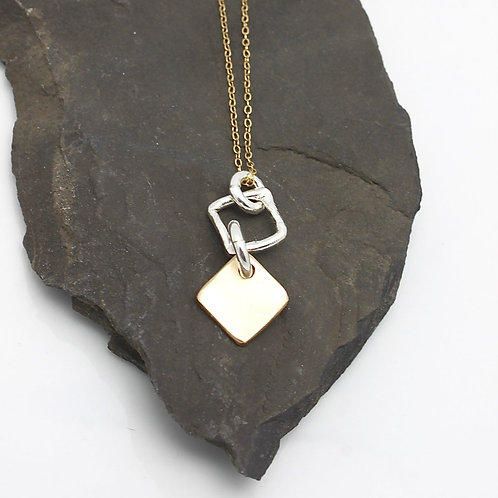 Bronze Diamond Pendant and Silver Link Short Necklace