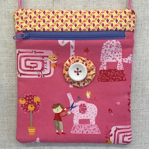 Children's Purse - Pink Topiary with White Button