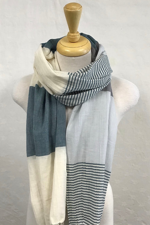 Pokoloko Teal Striped Scarf