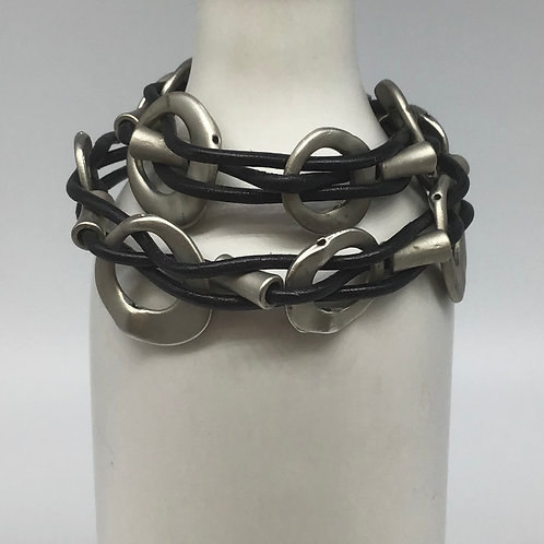 Black Leather Cord Bracelet (Woven with Beads of Pewter) #1