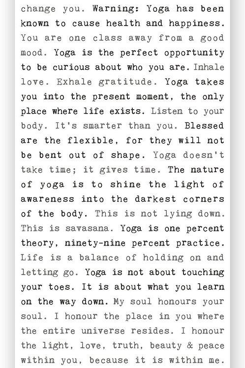 Yoga Typewriter Sign