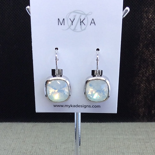 Myka White Opal Small Cushion Earrings