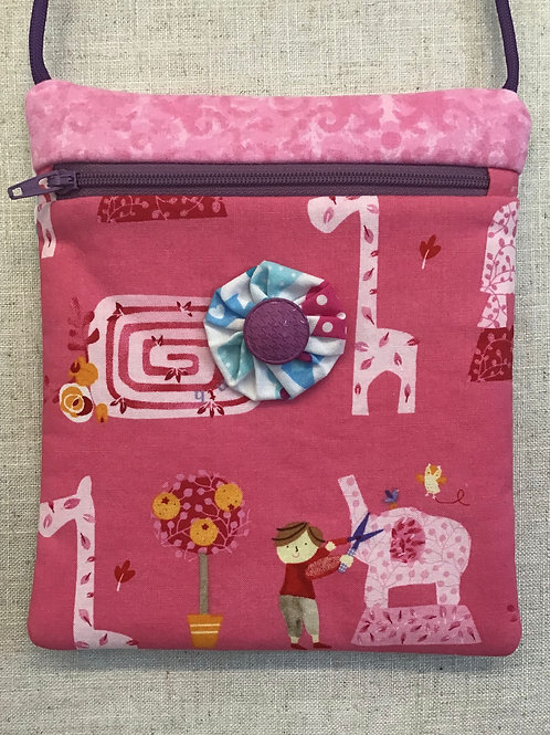 Children's Purse - Pink Topiary with Purple Button