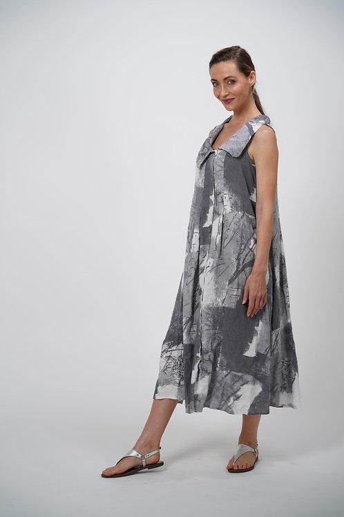 Sleeveless Patterned Linen Dress
