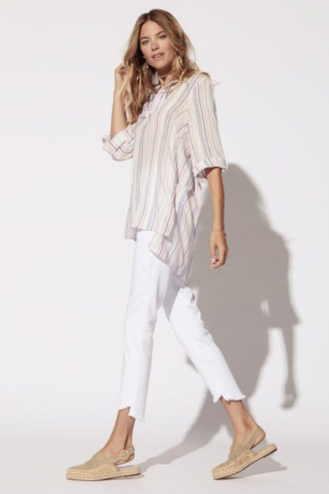 Roll-Up Sleeve Popover Tunic
