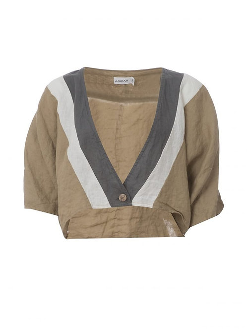 Short Linen Woven Jacket with Three-Quarter Sleeves