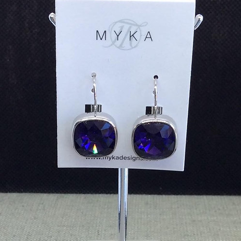 Myka Dark Purple Medium Cushion Earrings