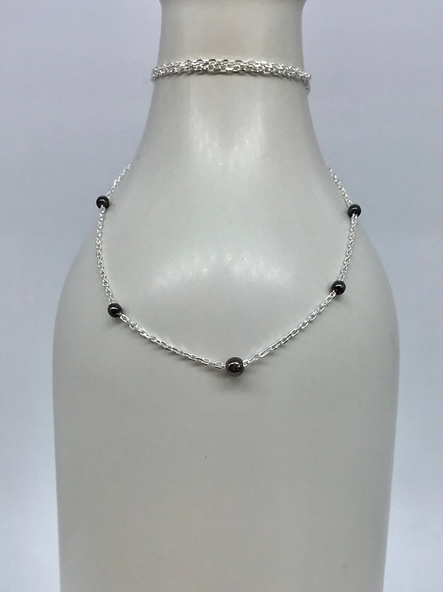 GAM Necklace with Black Rhodium Balls 18