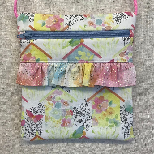 Children's Purse - Bird Houses with Pink Ruffle