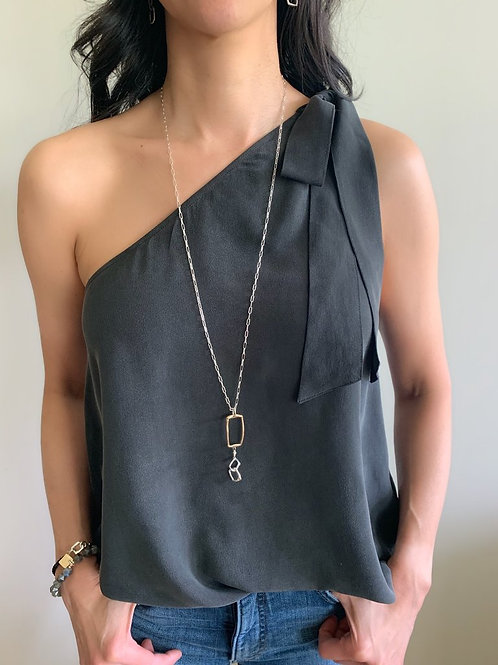 Bronze Rectangle & Silver Square Long Necklace