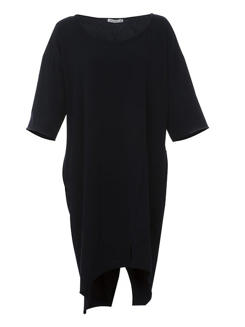Navy Long Cotton Knitted Dress with Three-Quarter Sleeves