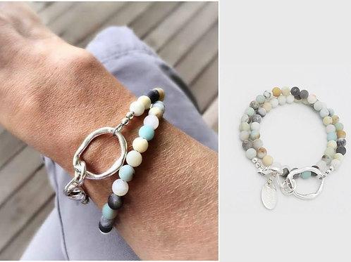 Matte Amazonite Double Wrap Bracelet & Fine Silver Link