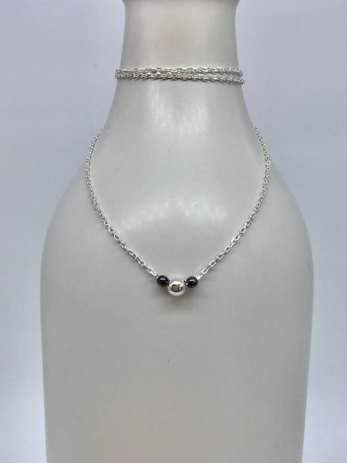 GAM Necklace with Silver and Black Rhodium Balls 19