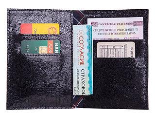 Кожаная обложка на паспорт и автодокументы.