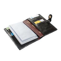 Обложка на автодокменты с паспортом. Черная натуральня кожа.