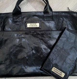 Кошелек и сумка с именными шильдами. Натуральная кожа.
