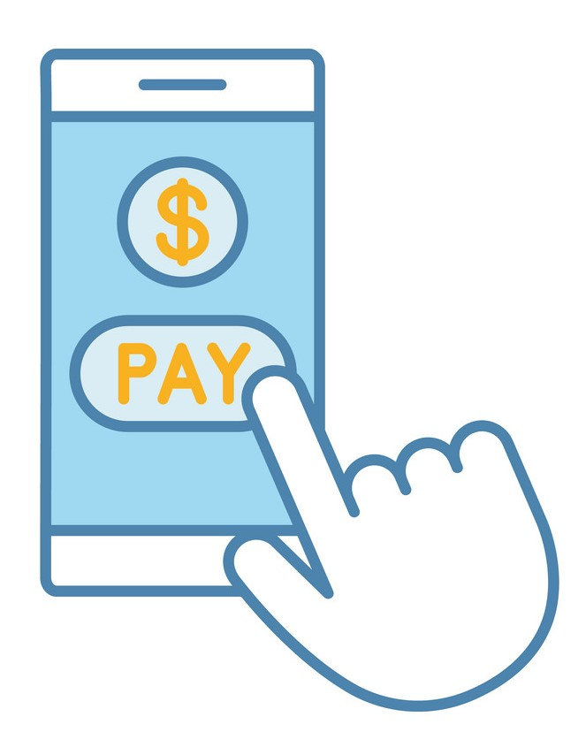 Mobile payment icon: a mobil phone with paymen buttons on screen