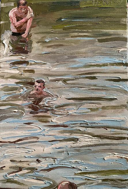 Artur Zienko_Trzech w kąpieli_olej na pł