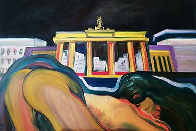 'Selfie in Berlin' olej na płótnie, 150c