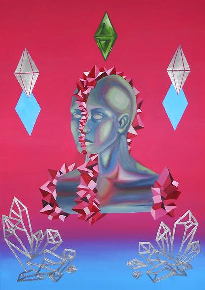 Crystallization,akryl na plotnie, 50 x 7