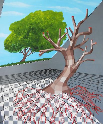 The tree, akryl na plotnie, 50 x 60 cm,