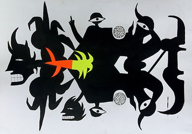gil 100x70 akryl na papierze z elementam