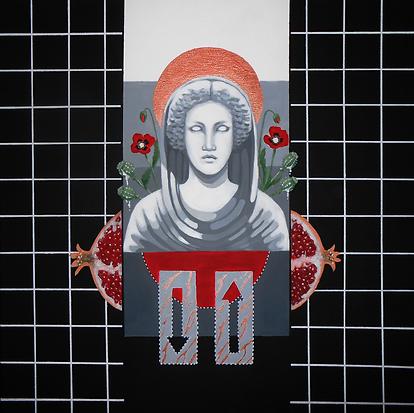 Persefona, akryl na plotnie, 50 x 50 cm,