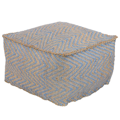Elegant Seagrass Blend French Blue Pouf | Sanctuary Home Furniture And Gifts Auburn,  AL