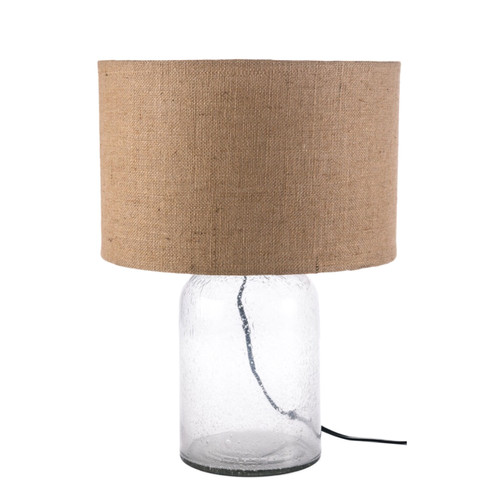 Seeded glass table lamp burlap drum shade sanctuary home seeded glass table lamp burlap drum shade mozeypictures Choice Image
