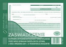 Zaśw. w spr.zatrudnienia kierowcy A5 40 k. dr266
