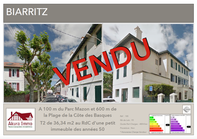 Vendu chez Akura Immo T2 Biarritz Parc Mazon.