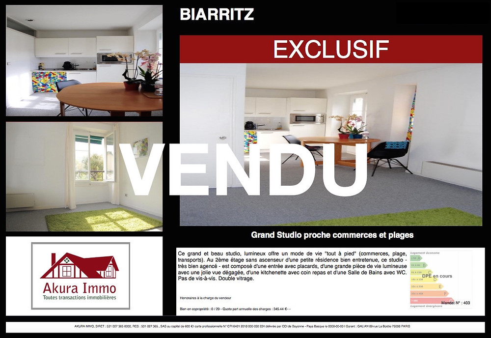 Beau studio vendu à Biarritz Saint-Charles