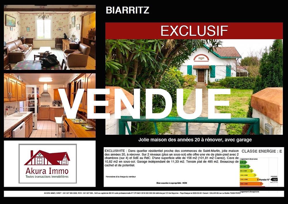 VENDUE Jolie Maison des années 20 à Biarritz