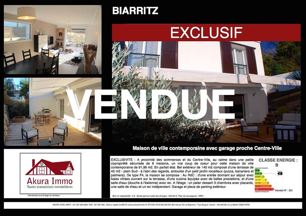 Maison de Ville à Biarritz Lahouze vendue par Akura Immo