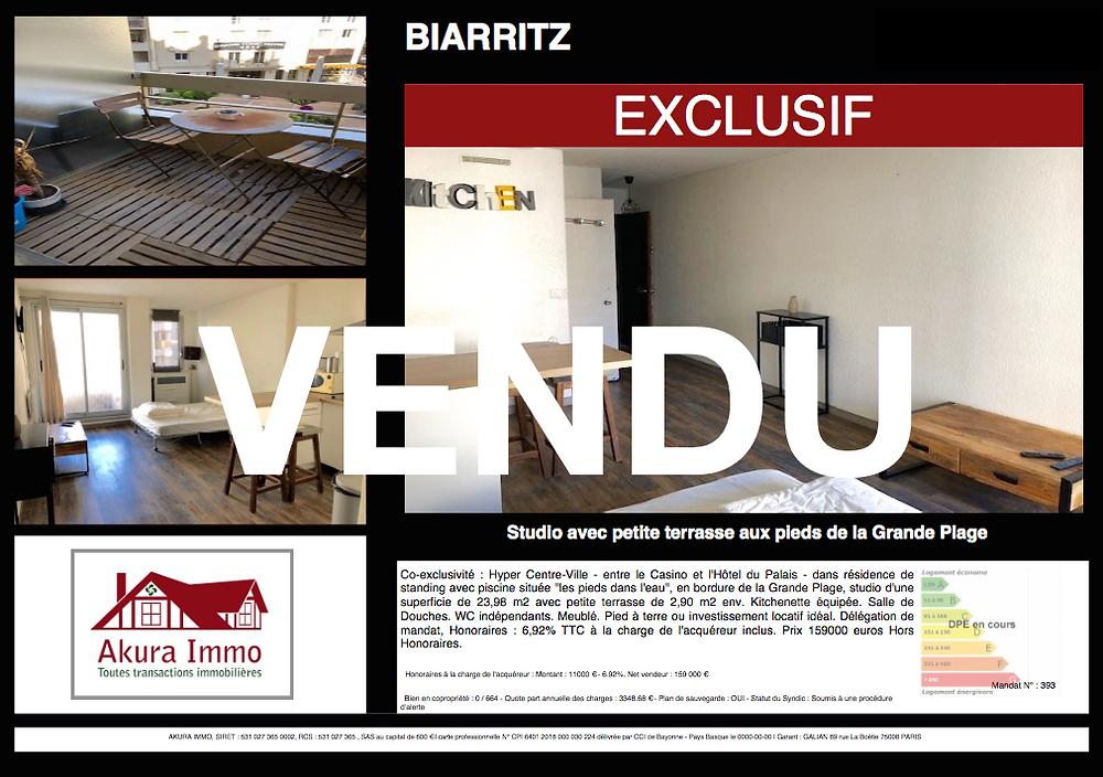 VENDU beau studio à Biarritz Grande Plage