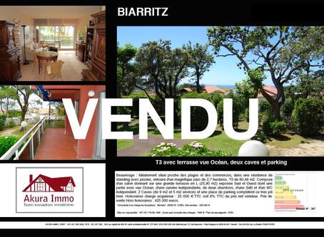 VENDU T3 avec terrasse, 2 caves et parking à BIARRITZ Beaurivage