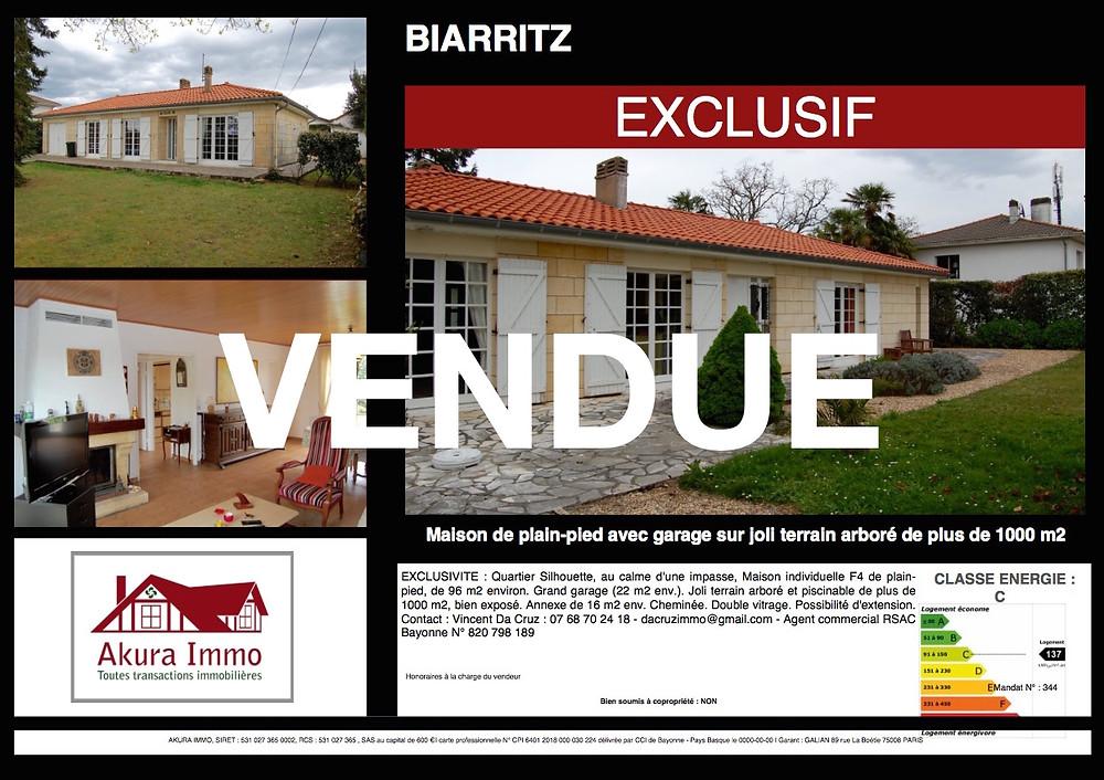 Maison de plain-pied vendue à Biarritz Silhouette