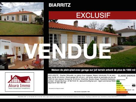 VENDUE en EXCLUSIVITE : Maison de plain-pied à BIARRITZ