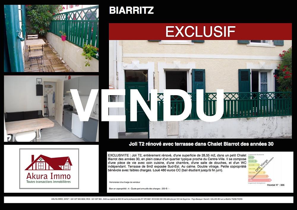 Vendu T2 avec terrasse à Biarritz Voltaire