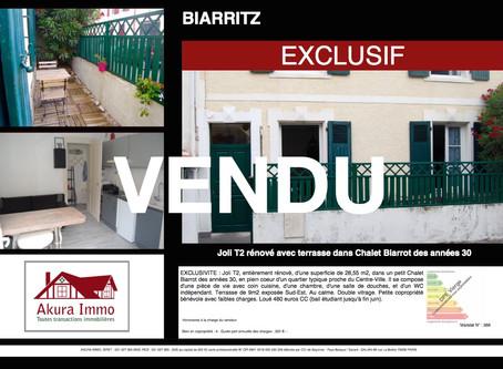 VENDU en EXCLUSIVITE T2 avec terrasse dans Chalet 1930 à BIARRITZ proche Centre-Ville